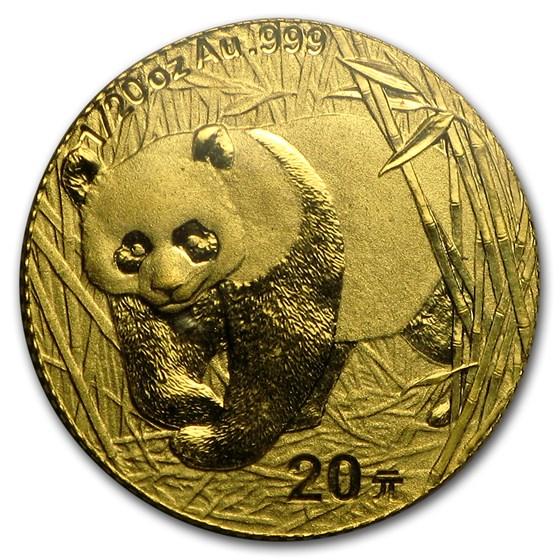 2001 China 1/20 oz Gold Panda BU (Sealed)