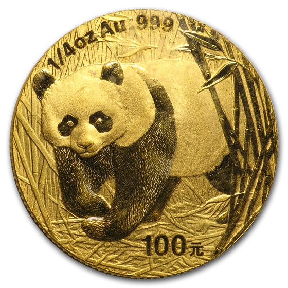 2001 China 1/4 oz Gold Panda BU (Sealed)