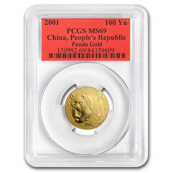 2001 China 1/4 oz Gold Panda MS-69 PCGS