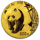 2001 China 1 oz Gold Panda BU (In Capsule)
