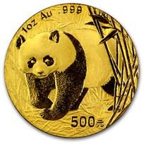 2001 China 1 oz Gold Panda BU (In Capsule)