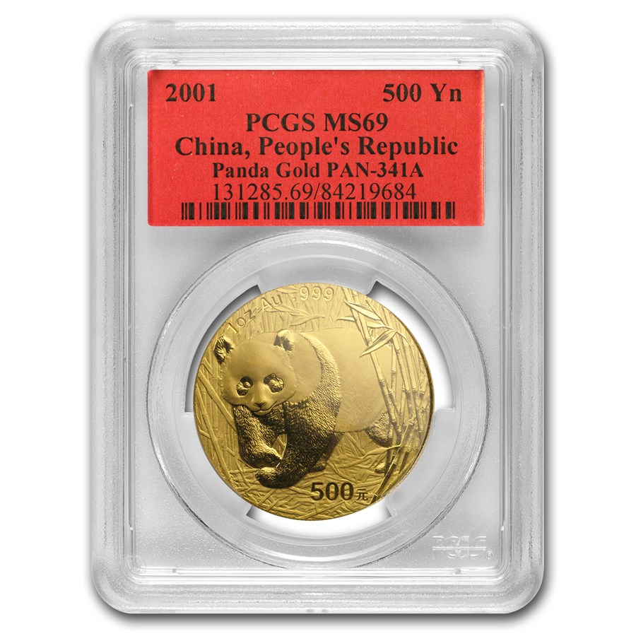 2001 China 1 oz Gold Panda MS-69 PCGS