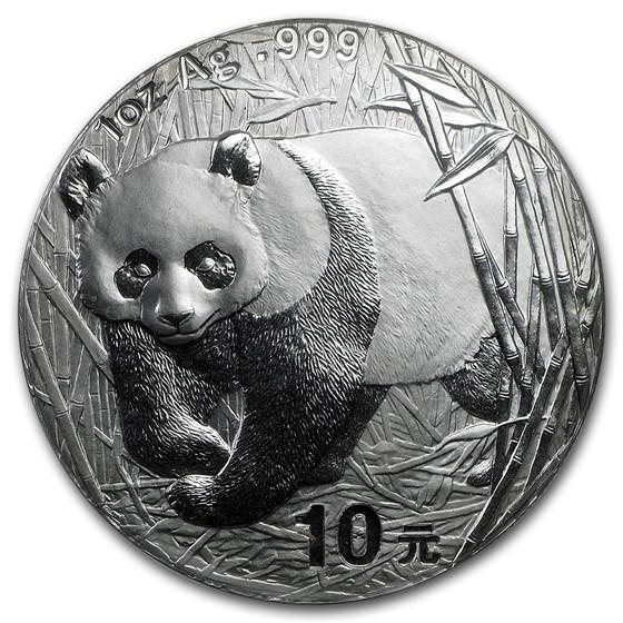 2001 China 1 oz Silver Panda BU (Sealed)