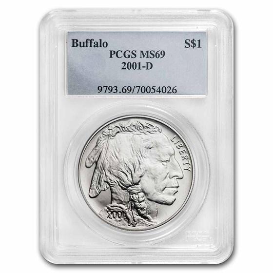 2001-D Buffalo $1 Silver Commem MS-69 PCGS