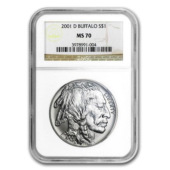 2001-D Buffalo $1 Silver Commem MS-70 NGC