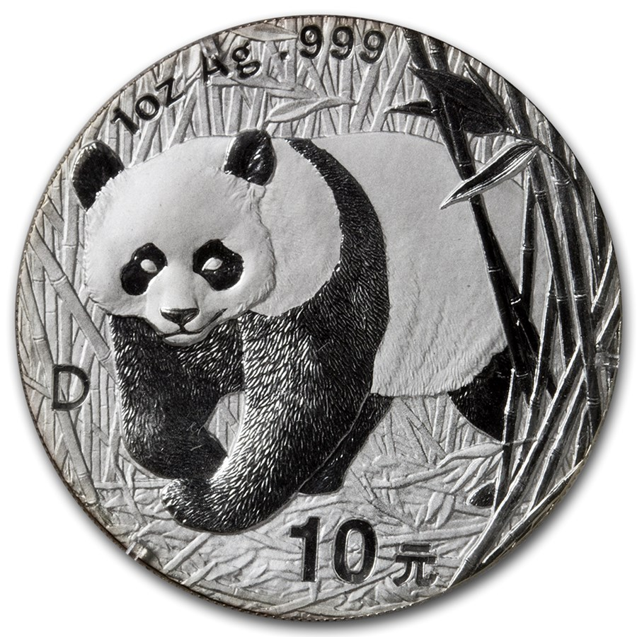 2001-D China 1 oz Silver Panda Large Date BU (Sealed)