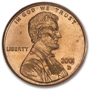 2001-D Lincoln Cent BU (Red)