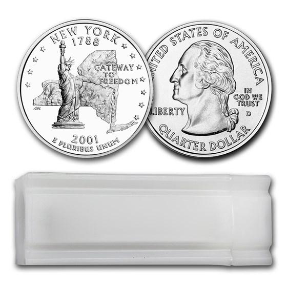 2001-D New York Statehood Quarter 40-Coin Roll BU