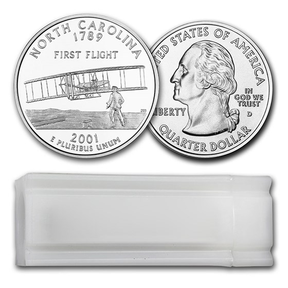 2001-D North Carolina Statehood Quarter 40-Coin Roll BU