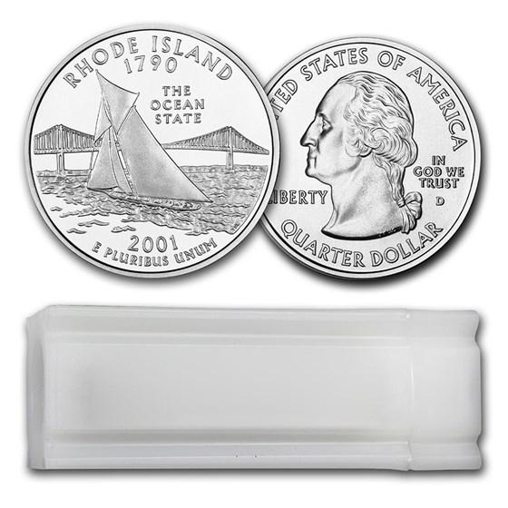 2001-D Rhode Island Statehood Quarter 40-Coin Roll BU