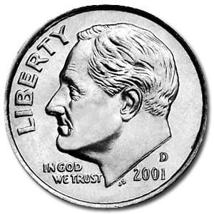 2001-D Roosevelt Dime BU