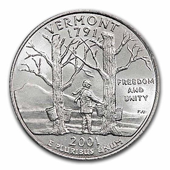 2001-D Vermont Statehood Quarter 40-Coin Roll BU