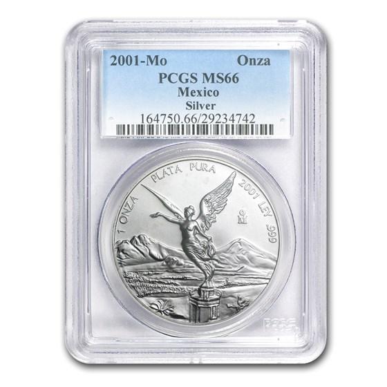 2001 Mexico 1 oz Silver Libertad MS-66 PCGS