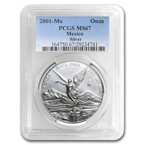 2001 Mexico 1 oz Silver Libertad MS-67 PCGS