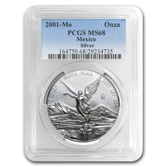 2001 Mexico 1 oz Silver Libertad MS-68 PCGS