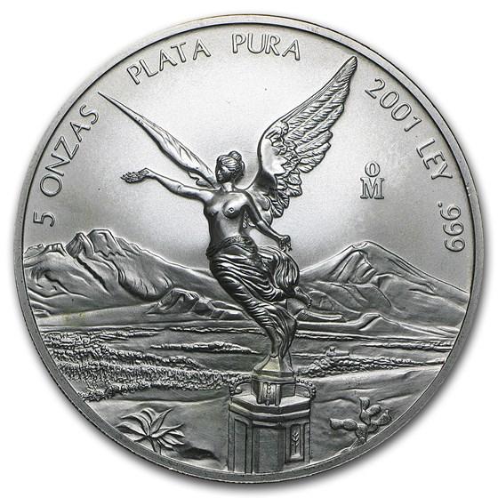 2001 Mexico 5 oz Silver Libertad BU