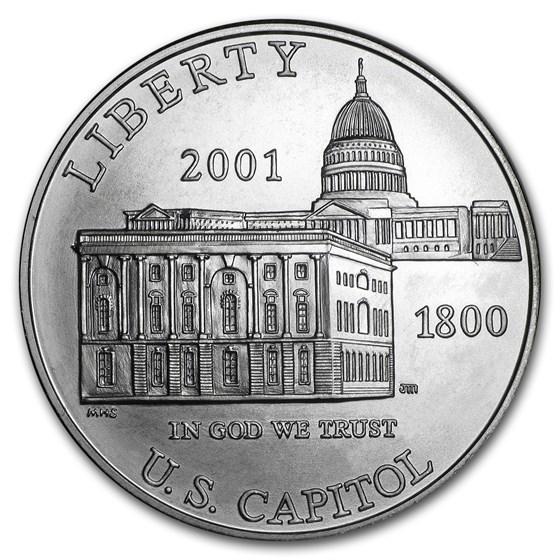2001-P Capitol Visitor Center $1 Silver Commem BU (w/Box & COA)