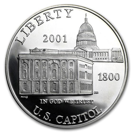 2001-P Capitol Visitor Center $1 Silver Commem Prf (w/Box & COA)