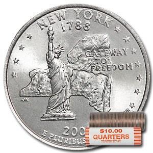 2001-P New York Statehood Quarter 40-Coin Roll BU