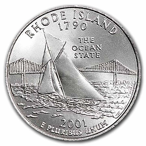2001-P Rhode Island Statehood Quarter 40-Coin Roll BU