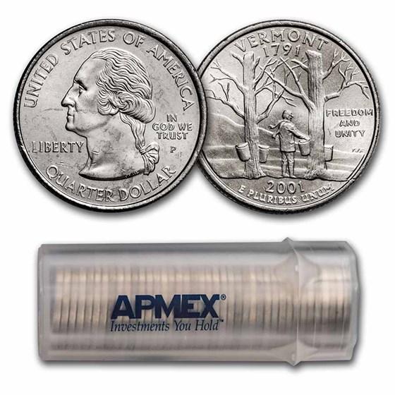 2001-P Vermont Statehood Quarter 40-Coin Roll BU