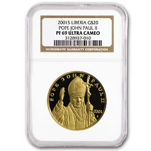 2001-S Liberia Proof Gold $20 Pope John Paul II PF-69 NGC