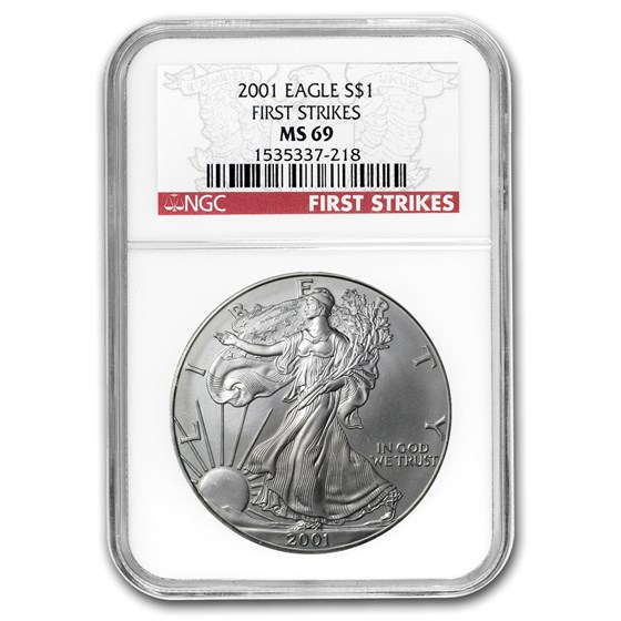 2001 Silver American Eagle MS-69 NGC (First Strike)