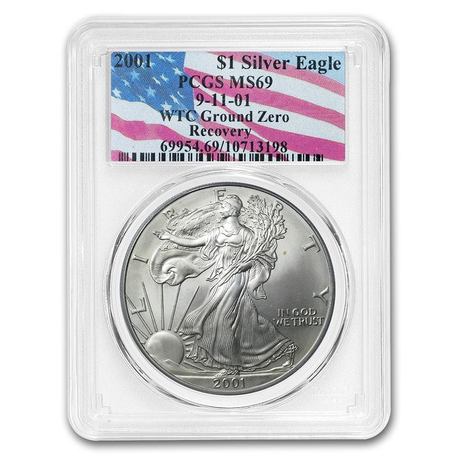 2001 Silver American Eagle MS-69 PCGS (World Trade Center)