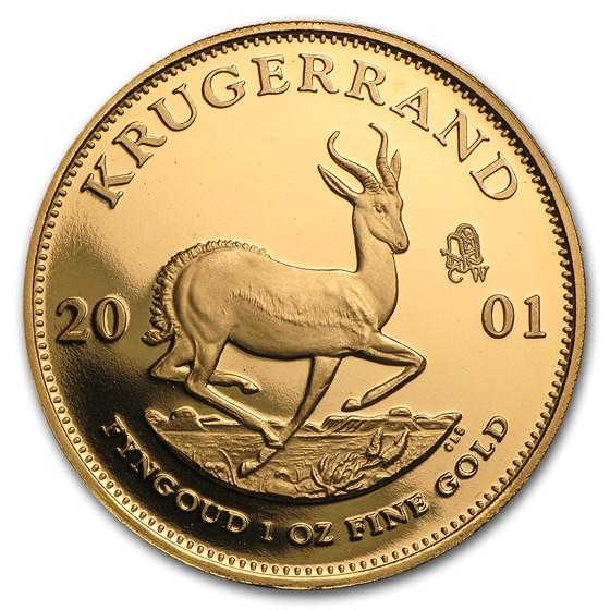 2001 South Africa 1 oz Proof Gold Krugerrand CW Privy (Capsule)