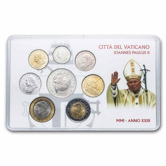 2001 Vatican City Pope John Paul II 8-Coin Set BU