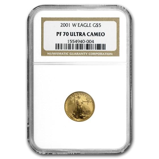 2001-W 1/10 oz Proof Gold American Eagle PF-70 NGC