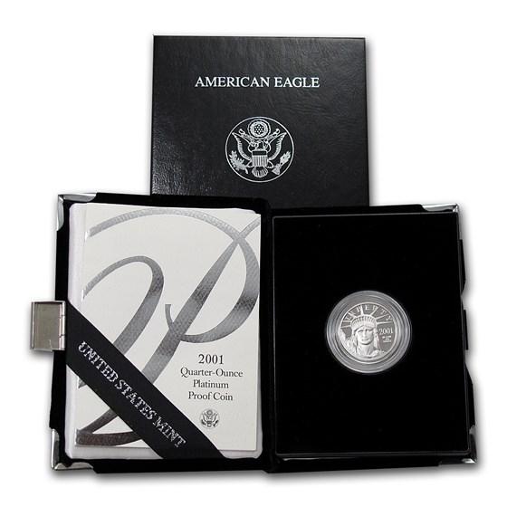 2001-W 1/4 oz Proof American Platinum Eagle (w/Box & COA)
