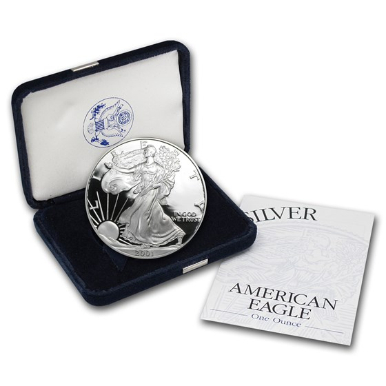 2001-W 1 oz Proof American Silver Eagle (w/Box & COA)