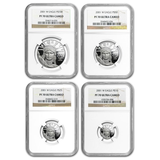 2001-W 4-Coin Proof American Platinum Eagle Set PF-70 NGC