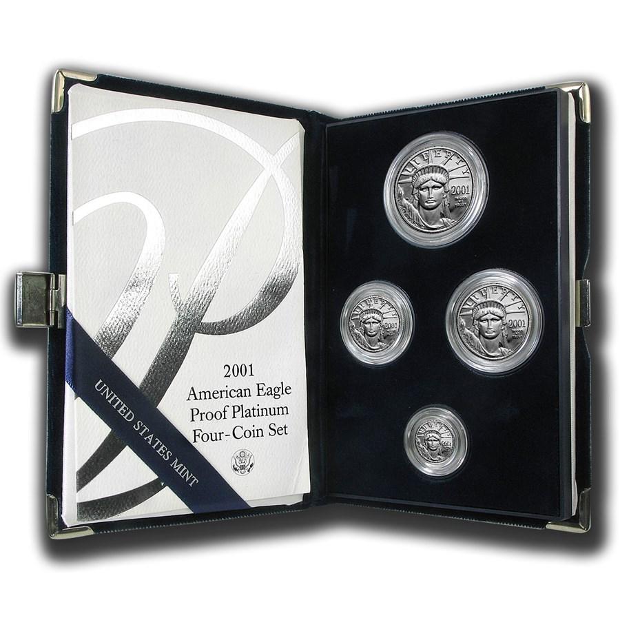 2001-W 4-Coin Proof American Platinum Eagle Set (w/Box & COA)