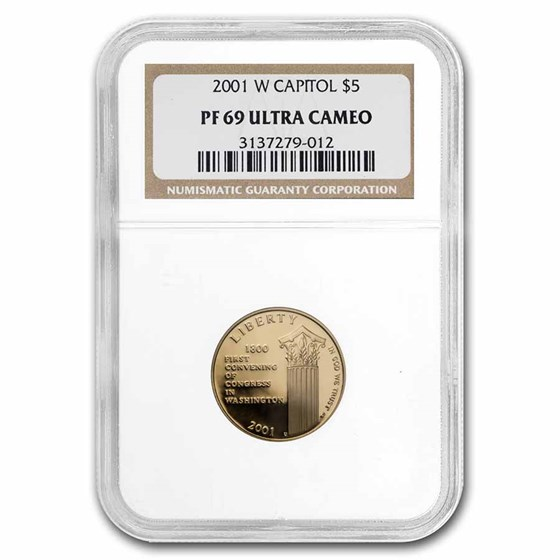 2001-W Gold $5 Commem Capitol Visitor Center PF-69 NGC