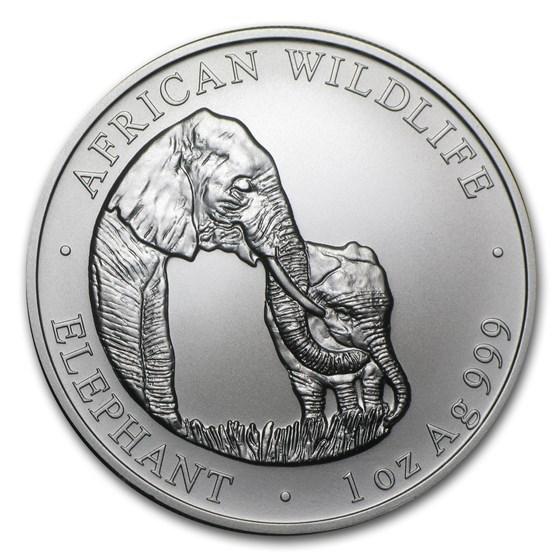 2001 Zambia 1 oz Silver Elephant BU
