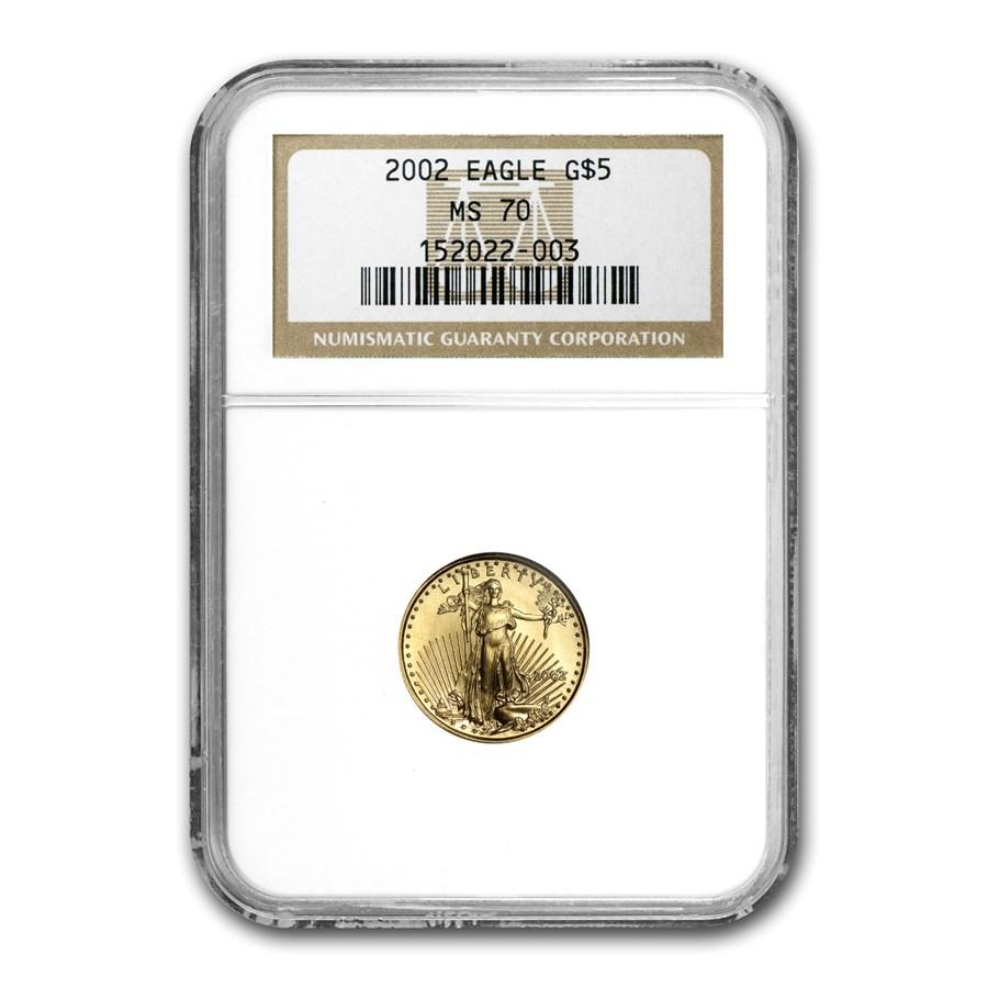 2002 1/10 oz American Gold Eagle MS-70 NGC