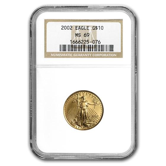 2002 1/4 oz American Gold Eagle MS-69 NGC