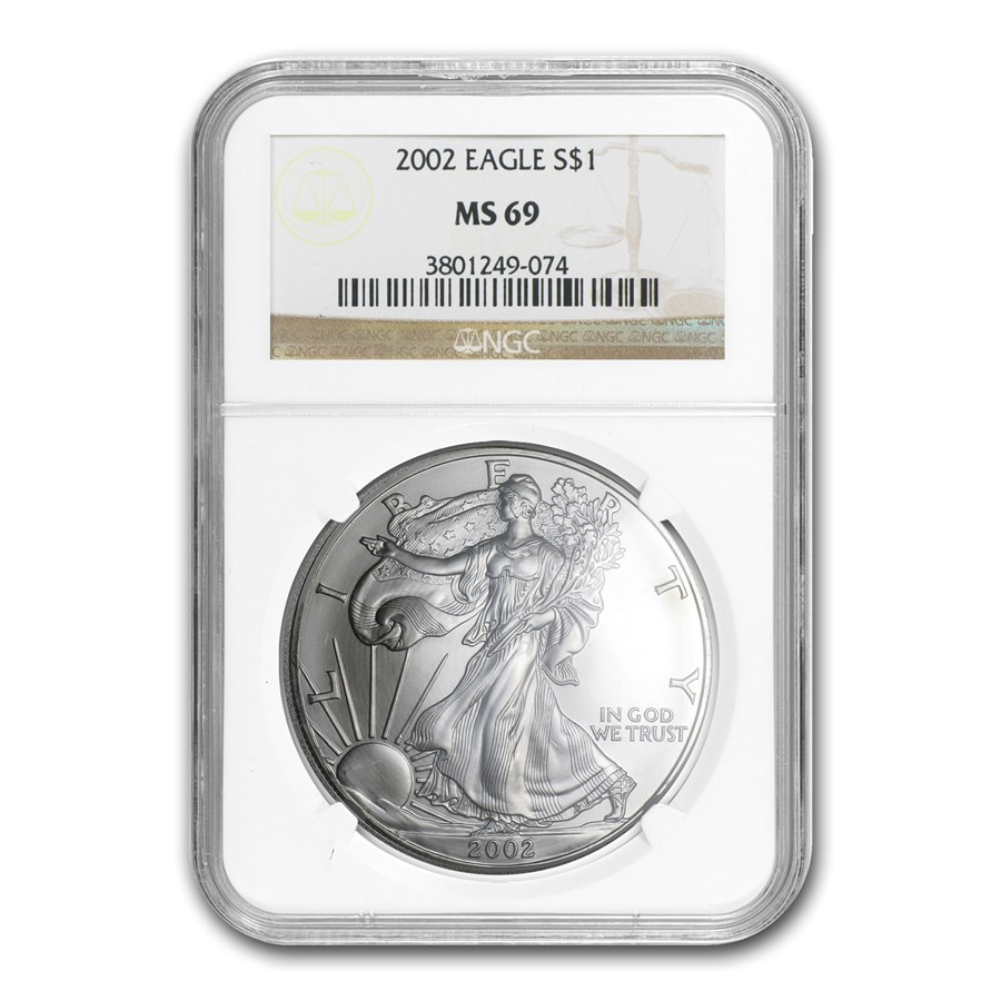 2002 American Silver Eagle MS-69 NGC