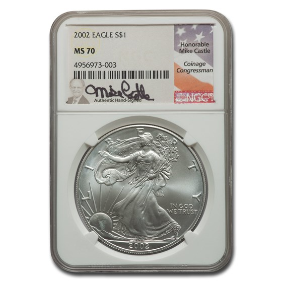 2002 American Silver Eagle MS-70 NGC (Castle)