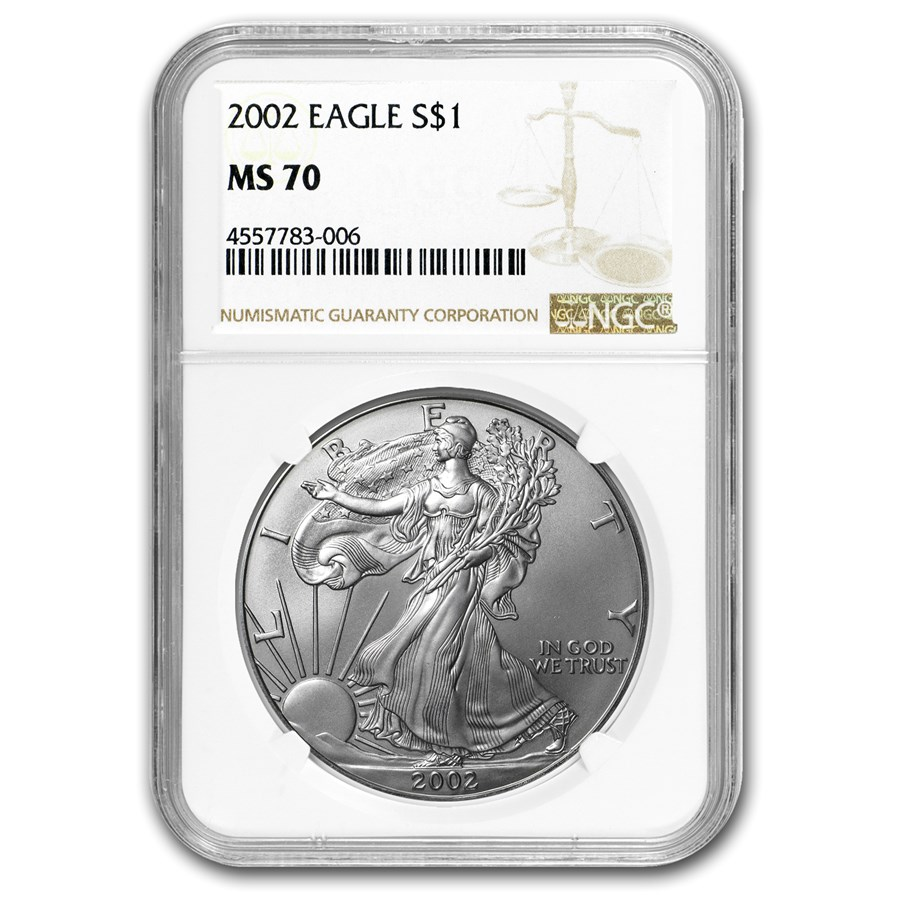2002 American Silver Eagle MS-70 NGC