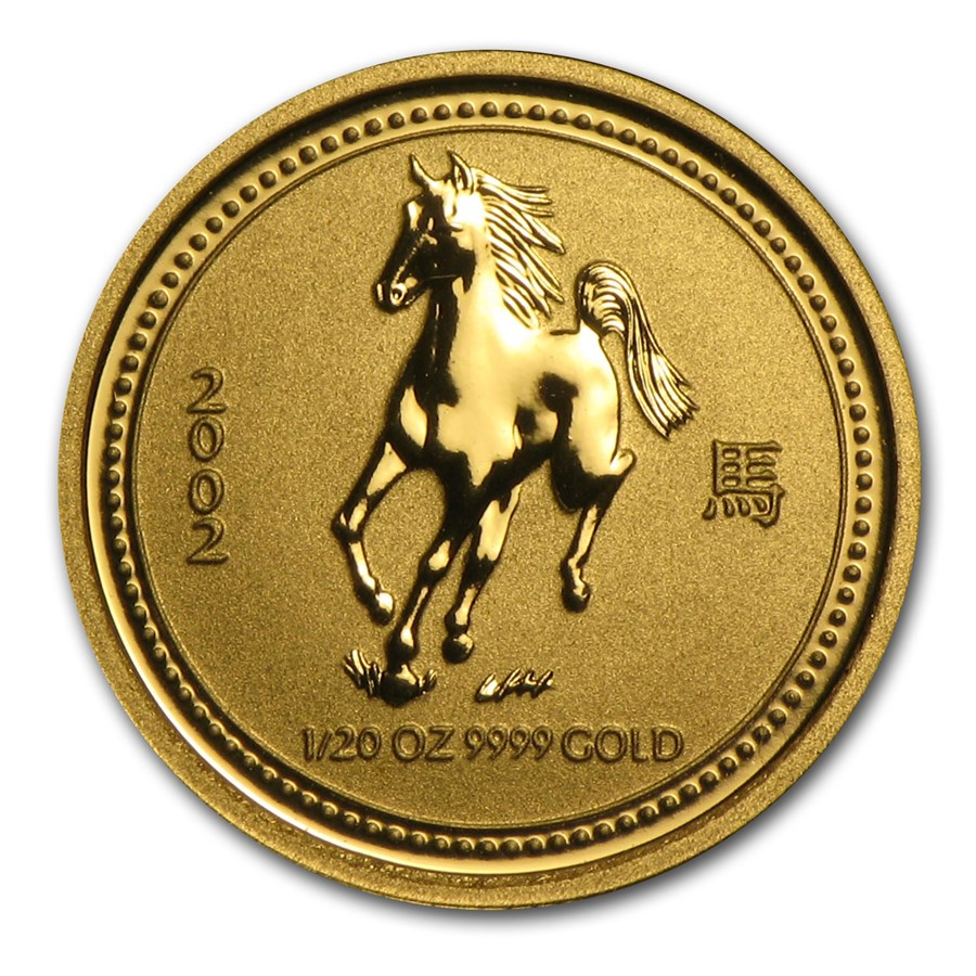 2002 Australia 1/20 oz Gold Lunar Horse BU (Series I)