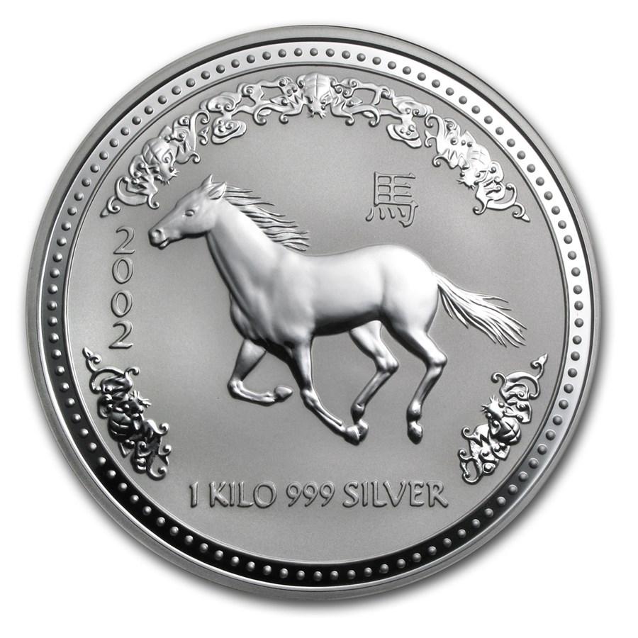2002 Australia 1 kilo Silver Year of the Horse BU