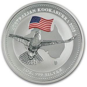 2002 Australia 1 oz Silver Kookaburra BU (American Flag Privy)