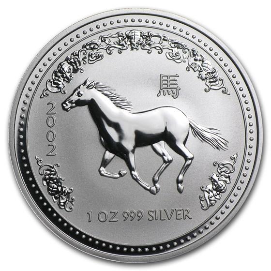 2002 Australia 1 oz Silver Year of the Horse BU (Series I)