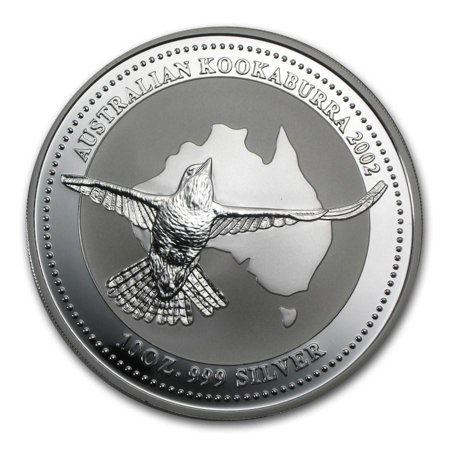 2002 Australia 10 oz Silver Kookaburra BU