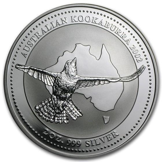 2002 Australia 2 oz Silver Kookaburra BU