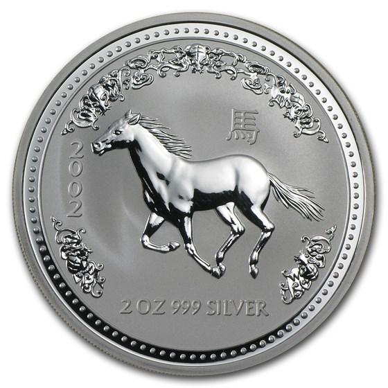 2002 Australia 2 oz Silver Year of the Horse BU