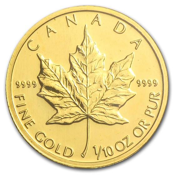 2002 Canada 1/10 oz Gold Maple Leaf BU